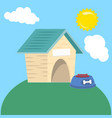 empty dog wooden house with food in roof vector image vector image