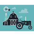 Farm Barn with a Tractor vector image vector image