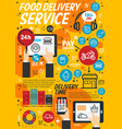fastfood delivery service linear vector image vector image