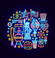fourth july neon concept vector image vector image