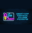 glowing neon ice cream cafe signboard with vector image