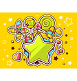 green star and pile of sweets on yellow vector image