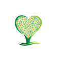 green tree heart abstract vector image vector image