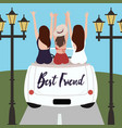 group of best friends cheering on car road trip vector image vector image