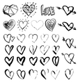 Hand drawn grunge hearts vector image vector image