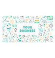 handdrawn your business sketch color set vector image vector image