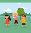 happy cute little kids are playing hide and seek vector image vector image