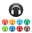 headphones icons set color vector image vector image