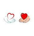 heart in hand logo charity assistance donation vector image vector image