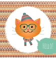 Hipster Cat in Textured Frame design vector image vector image