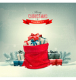 holiday christmas background with a sack full vector image vector image