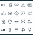 holiday icons set with christmas angel poster vector image vector image