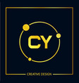 initial letter cy logo template design vector image