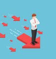 isometric businessman standing on red arrow vector image vector image
