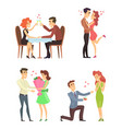 lovely couples funny characters romantic male and vector image