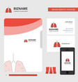 lungs business logo file cover visiting card and vector image vector image