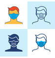 medical face mask icon set in line style vector image