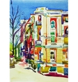 original watercolor painting of kiev building vector image vector image