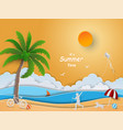 paper art design with summer time concept
