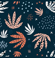 plants leaves hand drawn seamless pattern vector image