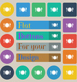 Plate icon sign Set of twenty colored flat round vector image