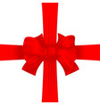 red textile ribbon with cross bow vector image vector image