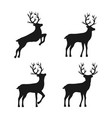 retro abstract set with black deer silhouette set vector image vector image