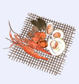 seafood set hand drawn grill sea vector image vector image