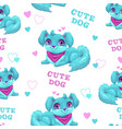 seamless pattern with cute cartoon fluffy puppy vector image vector image