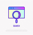searching on the internet magnifier on web page vector image