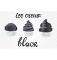 set of black ice cream dark with of different vector image