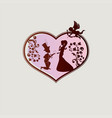 silhouette of a heart with a loving couple vector image