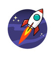 space rocket in flat style isolated on white vector image vector image