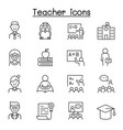 teacher icon set in thin line style vector image