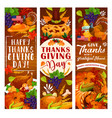 thanksgiving day greeting card of autumn holiday vector image