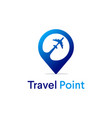 travel point logo designs with airplane symbol vector image