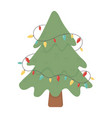 tree with lights decoration celebration merry vector image