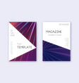 triangle cover design template set violet abstrac vector image vector image