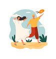 windy weather concept with people walking outdoors vector image vector image