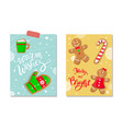 winter holiday merry and bright celebration poster vector image vector image