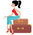 woman sits on a suitcase and holds the ticket vector image vector image