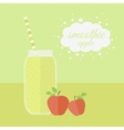 Apple smoothie in jar on a table vector image