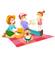 caucasian white family having a picnic in the park vector image
