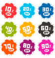 Splash Discount Labels Set Isolated on White vector image