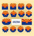 arizona flag collection figure icons set vector image vector image