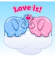 baby elephant in love on the cloud vector image