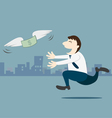 Business man running follow the money vector image vector image