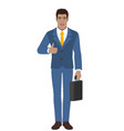 businessman holding briefcase and showing thumb vector image vector image
