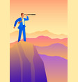 businessman using telescope on top mountain vector image vector image