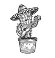 cactus guitar and sombrero sketch engraving vector image